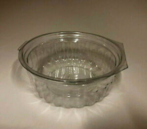 50 HINGED Attached Lid Clear 227ml Plastic Food Salad Bowl Disposable Container