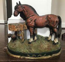 Beautiful Cast Iron Horse Doorstop w/Poly Chrome Paint