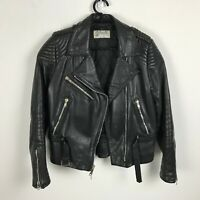Schott Sportswear Leather Motorcycle Jacket Size 12 Black Braided Lapels Womens
