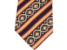 """Stanley Blacker Mens Necktie Tie Red Yellow Geometric Striped 57"""" 100% Silk"""