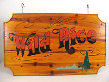Rustic 35x21 Signed Wild Rice Pine Wood Commercial Advertising Hanging Sign