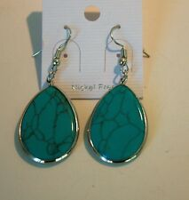 18K white gold reconstituted turquoise tear drop earrings