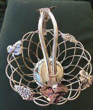 "Vintage Basket Silver Plated Wire Vine Grapes Leaves 8.5"""