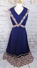 """Vintage maxi dress 14 L Bust 40"""" blue check trim colonial prairie peasant cotton"""
