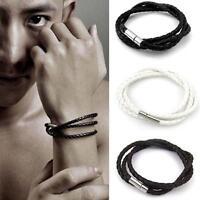 Hot Handmade Men's Leather Interlaced Braid Cuff Bangle Wristband Wrap Bracelet