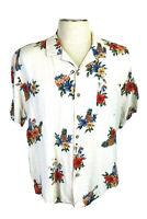 Batik Bay Men's XL Tan Hawaiian Shirt, Ukuleles, Pineapples, Tropical Floral