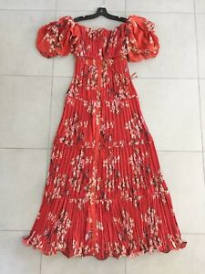 $2250 Johanna Ortiz NEW Viajes Del Alma Off Shoulder Plissé Georgette Dress 2