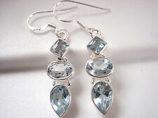 Faceted Blue Topaz 3-Gem 925 Sterling Silver Dangle Earrings Square Teardrop