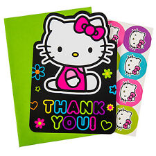 HELLO KITTY Neon Tween THANK YOU NOTES (8) ~ Birthday Party Supplies Stationery