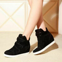 Women Hidden Wedge Heels Shoes Casual High Top Sneakers Shoes Buckle Ankle Boots