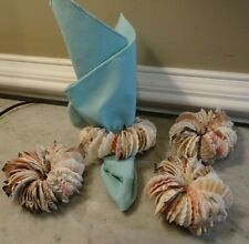 Natural Sea Shell Napkin Rings Holders Coastal Beach Hand Crafted Set of 4