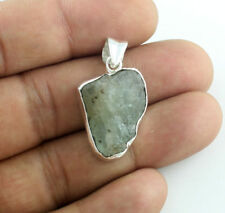 SOLID 925 STERLING SILVER JEWELRY NATURAL AQUAMARINE ROUGH GEMSTONE PENDANTS