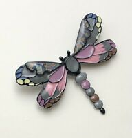 Unique artistic Dragonfly brooch in enamel on metal