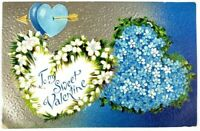 Postcard To My Sweet Valentine Hearts Blue Flowers Gold Embossed