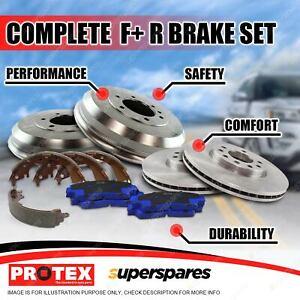 Front + Rear Disc Brake Rotors Pads Drums Shoes for Hyundai Santa Fe SM 00-05