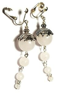 Very Long Silver White Clip-On Earrings Natural Agate Gemstone Bead Drop Dangle