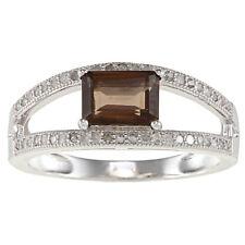 Sterling Silver Split Shank Smokey Quartz and Pave Diamond Ring (1/3 TDW)