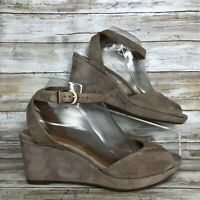 """Clarks 9M Light Brown Soft Suede Ankle Strap Sandal 3.1/4"""" Wedge Heel Womens"""