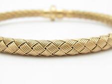 """14k Rose Gold Braided Mesh Italian Made Bangle Snap In Lock 7"""" Bracelet Gift"""
