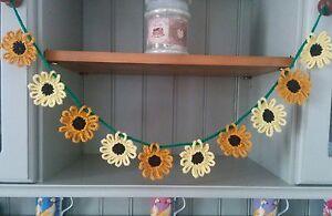 Handmade Crochet Sunflower Bunting/Garland Dresser  Nursery Conservatory Caravan
