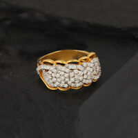 0.86 Ct Diamond Cocktail Ring Designer Solid Pave 14K Yellow Gold Jewelry