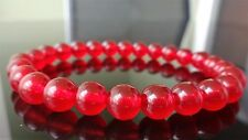 """Genuine Red Jade Bead Bracelet for Men (On Stretch) 8mm AAA 8"""" inch"""