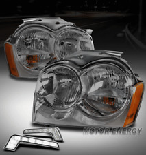 For 05-07 Jeep Grand Cherokee Smoke Headlights Lamp w/LED DRL Signal Left+Right