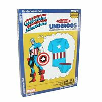 Mens Marvel CAPTAIN AMERICA UNDEROOS Underwear Tshirt & Brief Set SZ - S M L XL