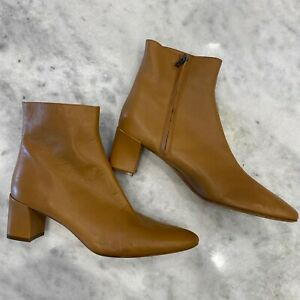 NEW Vince Caramel Brown Leather Ankle Boots Pointed Toe Block Heel Size 10 flaw