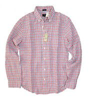 J.Crew Factory Men's XS Slim Fit - NWT$79 - Red/White/Blue Gingham Linen Shirt