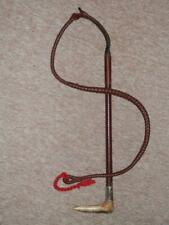 Antique SWAINE LONDON Gents Hunting Whip - Plaited Leather Lash W/ Silver Collar