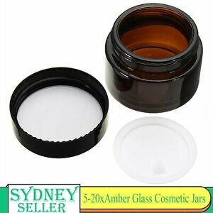 5-20 Pcs 30g Amber Glass Cream Jars Black Wadded Lid Creams Lotion Containers AU