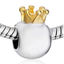 Crown Bracelet Charm Silver Gold Two Tone Princess Queen European Bead New