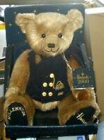 Harrods 2000 Millennium Teddy Bear With Vest And Brass Buttons Original Tag /Box