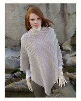 Aran Beige Irish Made Poncho Cape 100% Merino Wool West End Knitwear sh4272