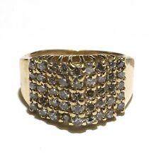 14k yellow gold .82ct round diamond cluster anniversary band ring 6.1g ladies