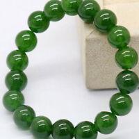 UK_ Natural Dark Green Jade Round Gemstone Beads Stretchy Bangle Bracelet Novelt