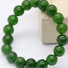 Natural Dark Green Jade Round Gemstone Beads Stretchy Bangle Bracelet Novelty