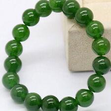 QA_ Natural Dark Green Jade Round Gemstone Beads Stretchy Bangle Bracelet Nove