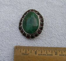 Vintage ISRAEL Sterling & MALACHITE PENDANT BROOCH-Red Stone Border-NR