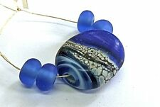 """UNIQUE HANDMADE LAMP WORK GLASS FOCAL BEADS, """"BLUE/CREAM/SILVER ROCK"""" ETCHED"""