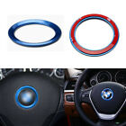 Blue Aluminum Car Steering Wheel Center Decor Ring Cover 3M For BMW Accessories
