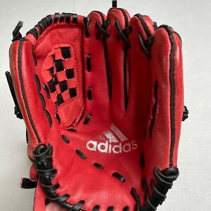 Adidas Youth FF1050 10.5'' Red Baseball Glove Easy Close RHT Right Hand Throw