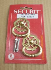 Two Brass fancy ring pull cabinet door / drawer handle New