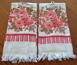 Pair of Unused Vintage Rose Motif Kitchen Dish Towels Revere Mills 100% Cotton
