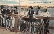 FISH CATCH AT LONG BEACH CALIFORNIA POSTCARD (c. 1910)