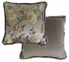 """FILLED LUXURIOUS TAUPE GOLD FLORAL LEAF EMBROIDERED RUCHED CUSHION 22"""" 55CM"""