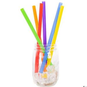 """Chef Craft Jumbo Thick Smoothie & Shake 9"""" Bright Color Plastic Straws, 25 Pack"""