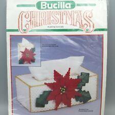 Vintage Bucilla Christmas Plastic Canvas Tissue Box Cover Kit Poinsettia 61127