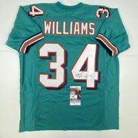 Autographed/Signed RICKY WILLIAMS Miami Teal Football Jersey JSA COA Auto